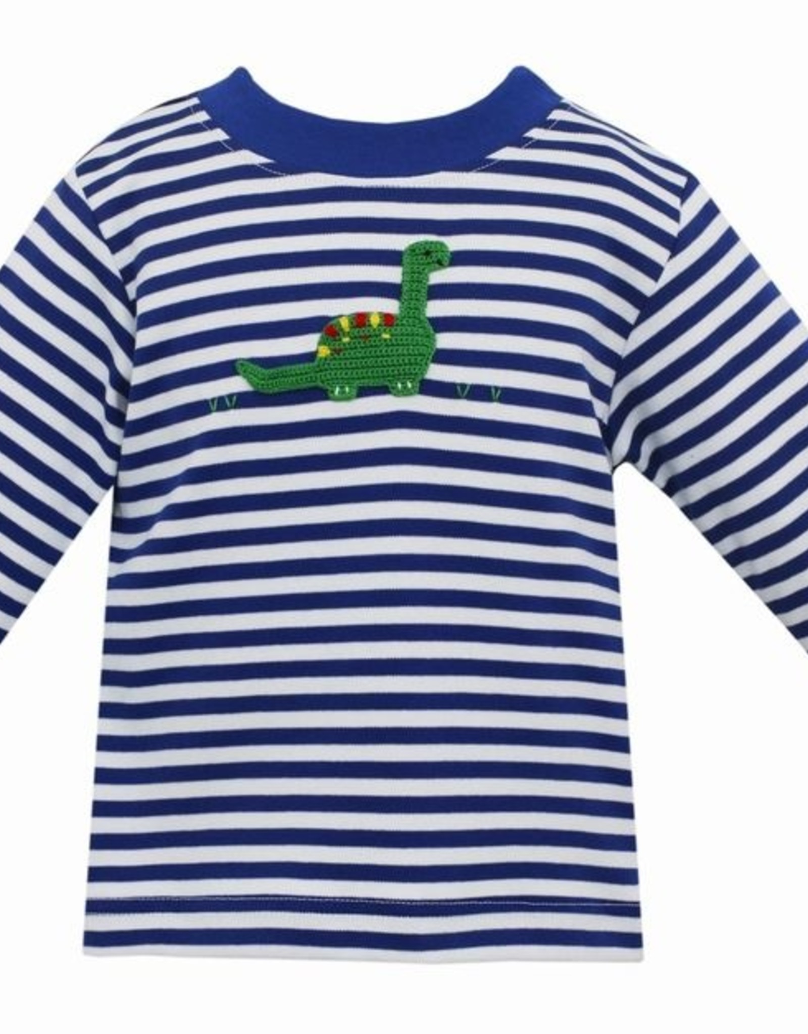 Claire and Charlie Dinosaur Boy's Royal Stripe T-Shirt Long Sleeve