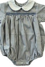 Remember Nguyen Gray Check Boy Bubble with Blue Smocking