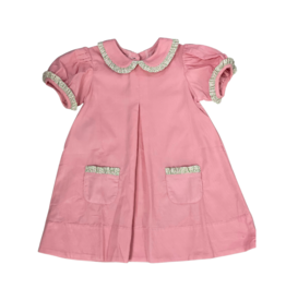 Remember Nguyen Pink Corduroy Dress with Floral Detail