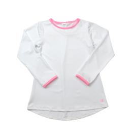 SET Lindsay Long T LS - White w/ Pink Welting