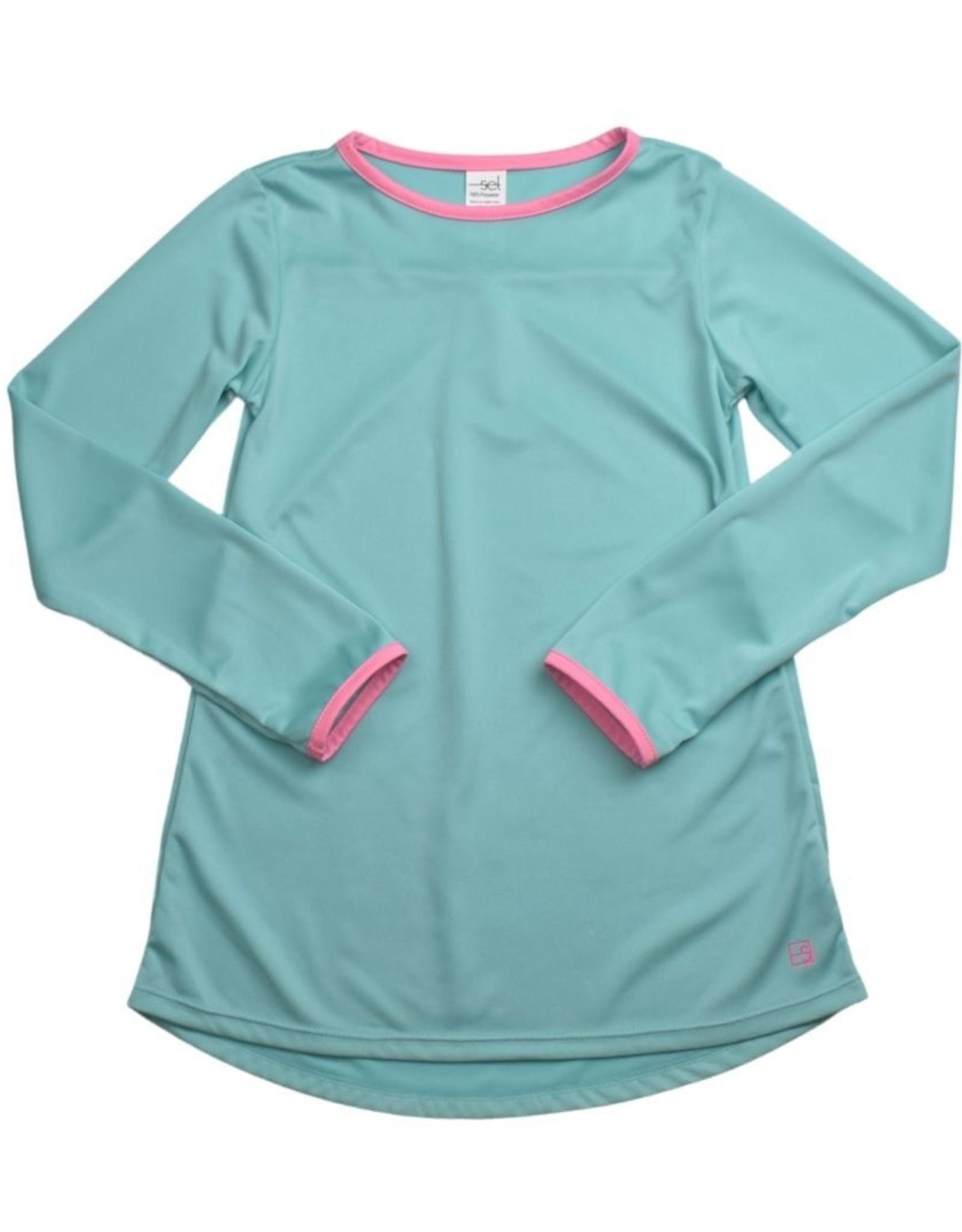SET Lindsay Long T LS - Turquoise w/ Pink Welting