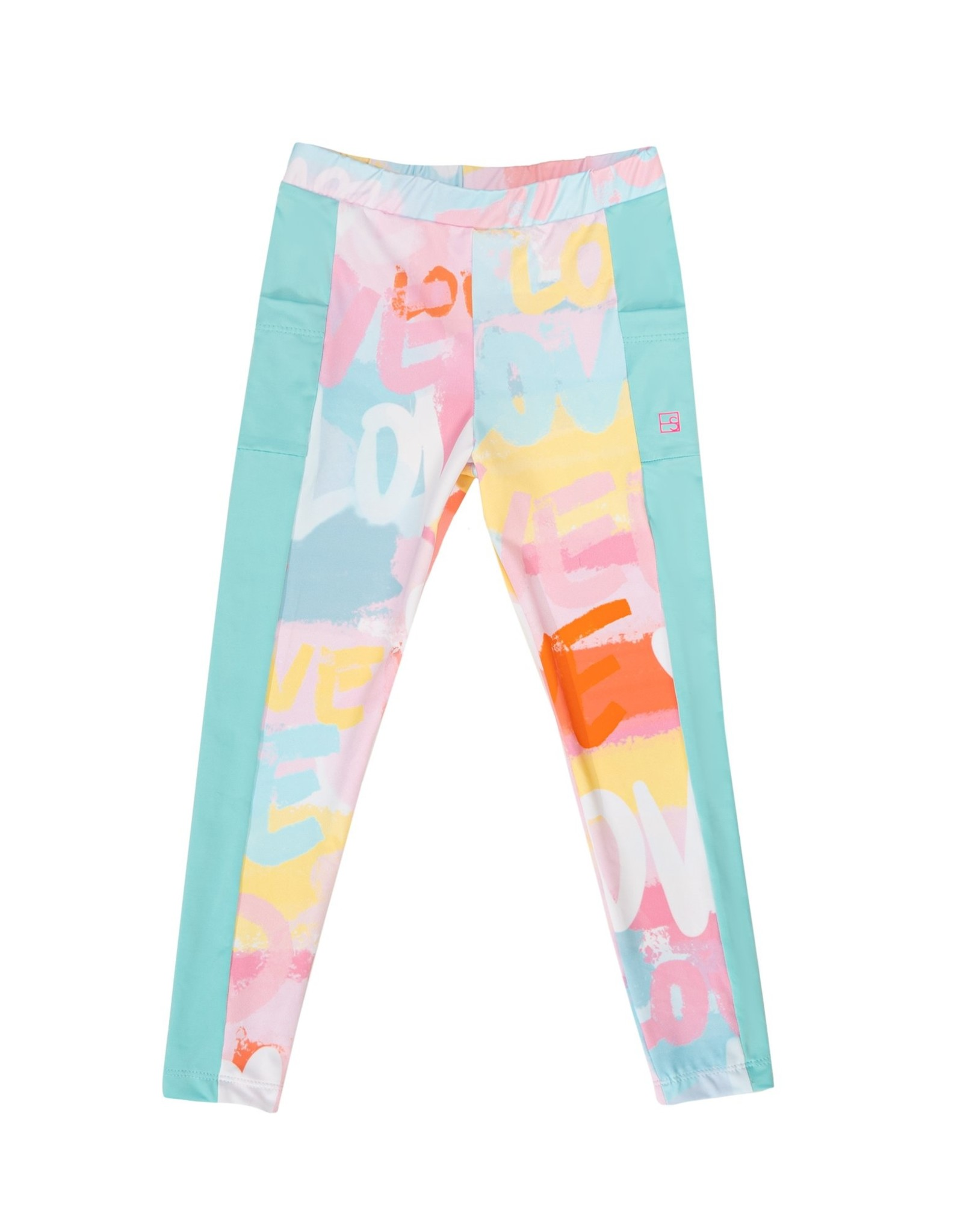 SET Lila Legging - Love Print w/ Turquoise Sides