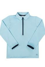 SET Henry Half Zip - Light Blue w/ Navy Zipper