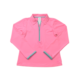SET Heather Half-Zip - Pink w/Turquoise Zipper
