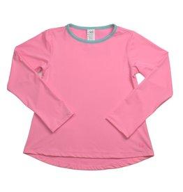 SET Bridget Basic L/S Tee Pink/Turqouise Welting