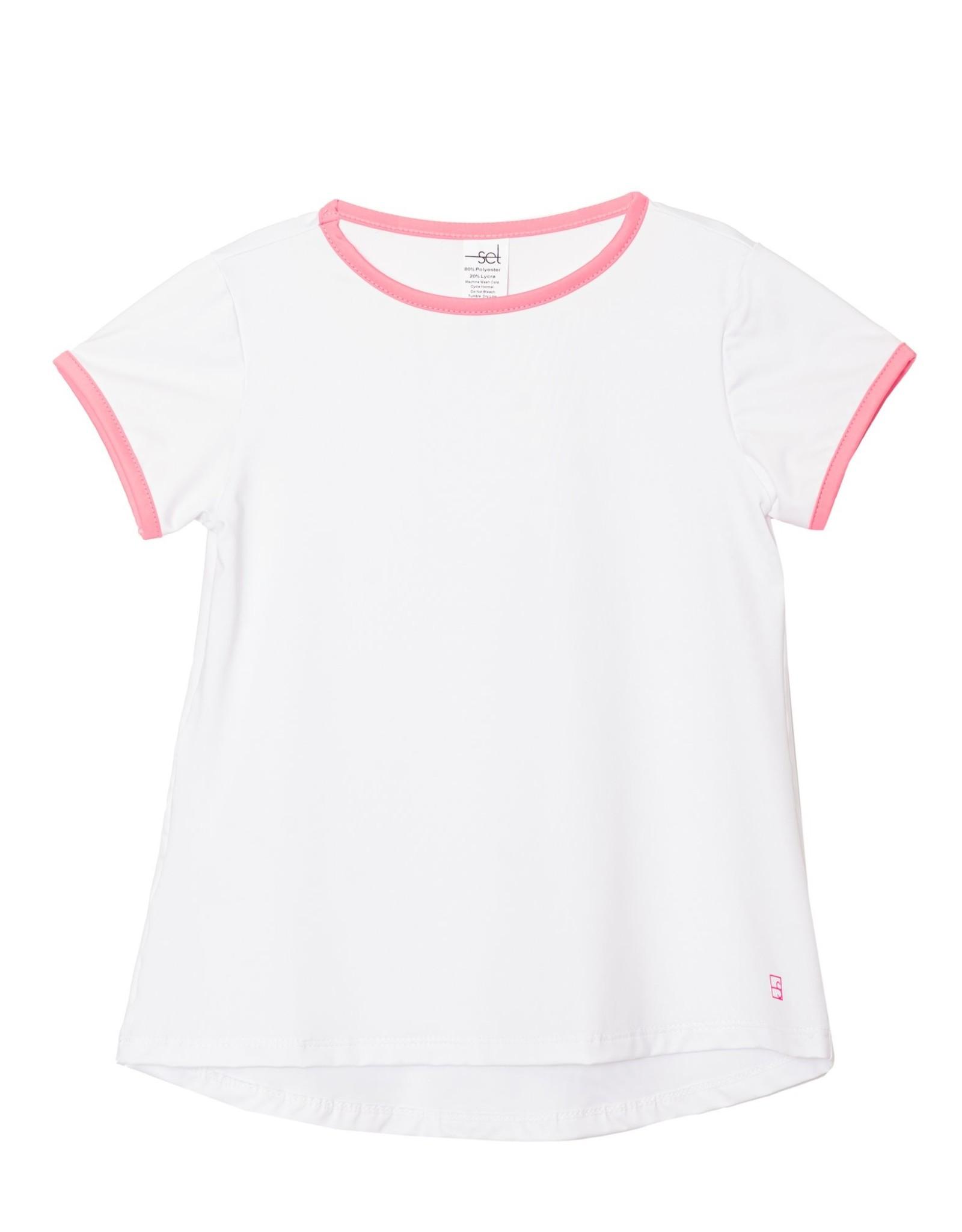 SET Bridget Basic S/S Tee White/Pink Welting