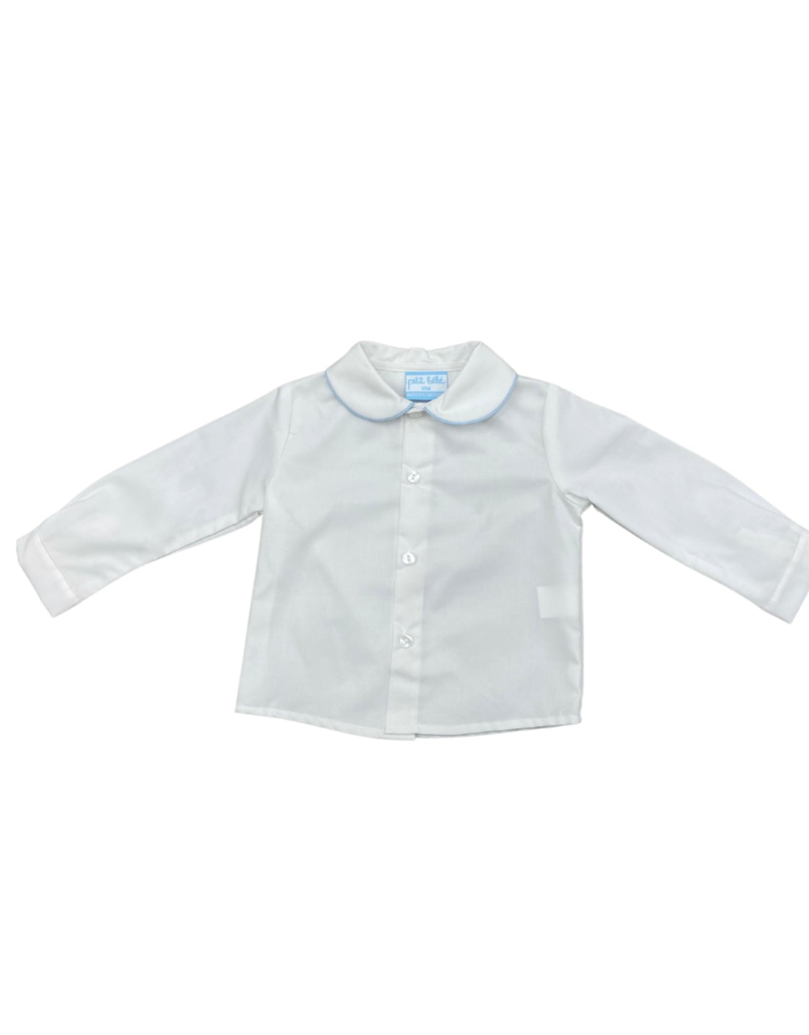 Petit Bebe Boys White Shirt w/ Lt Blue Piping