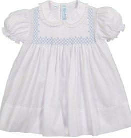 Feltman Brothers Vintage White/Blue Smocked Bodice Dress