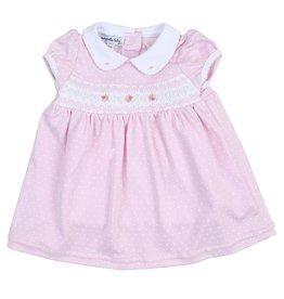 Magnolia Baby Layla And Lennox S/S Smocked Collar Dress Pink
