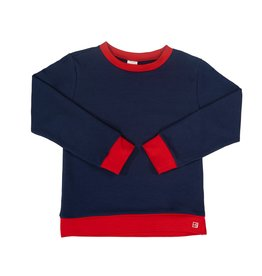 SET River Jogger Top - Navy Knit w/ Red Cuffs