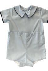 Auraluz Blue Boy Button On Short Set with Navy Trim