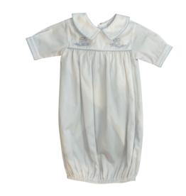 Auraluz White Pique Saque with Collar, Train Embroidery