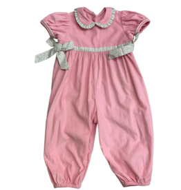 Remember Nguyen Pink Corduroy Long Romper with Floral Detail