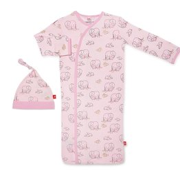 Magnetic Me Pink Love You A Ton Modal Magnetic Sack Gown & Hat