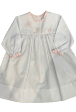 Auraluz LS White Dress w/ Pink Ruffle Trim  & Embroidered Bowstring