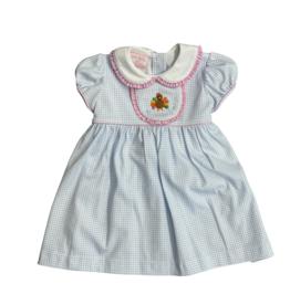 Petit Bebe Lt Blue Mini Check Turkey Knit Dress w/ Collar