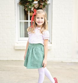 James and Lottie Cece Skirt Set  in Green Cord & Red Dot