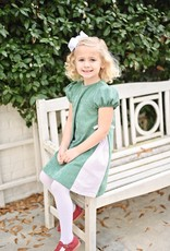 James and Lottie Cece Dress  in Green Cord & Red Dot