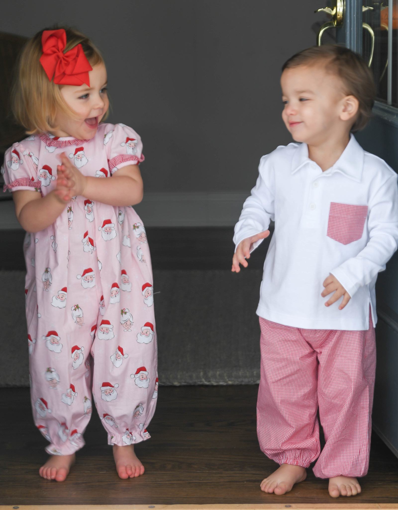 James and Lottie Carter Pant Set in Red & Green Check