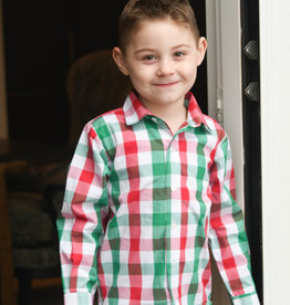James and Lottie Ryan Button Down Shirt in Red & Green Check