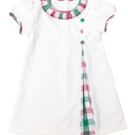 James and Lottie Peyton Dress in White Cord and Christmas Plaid
