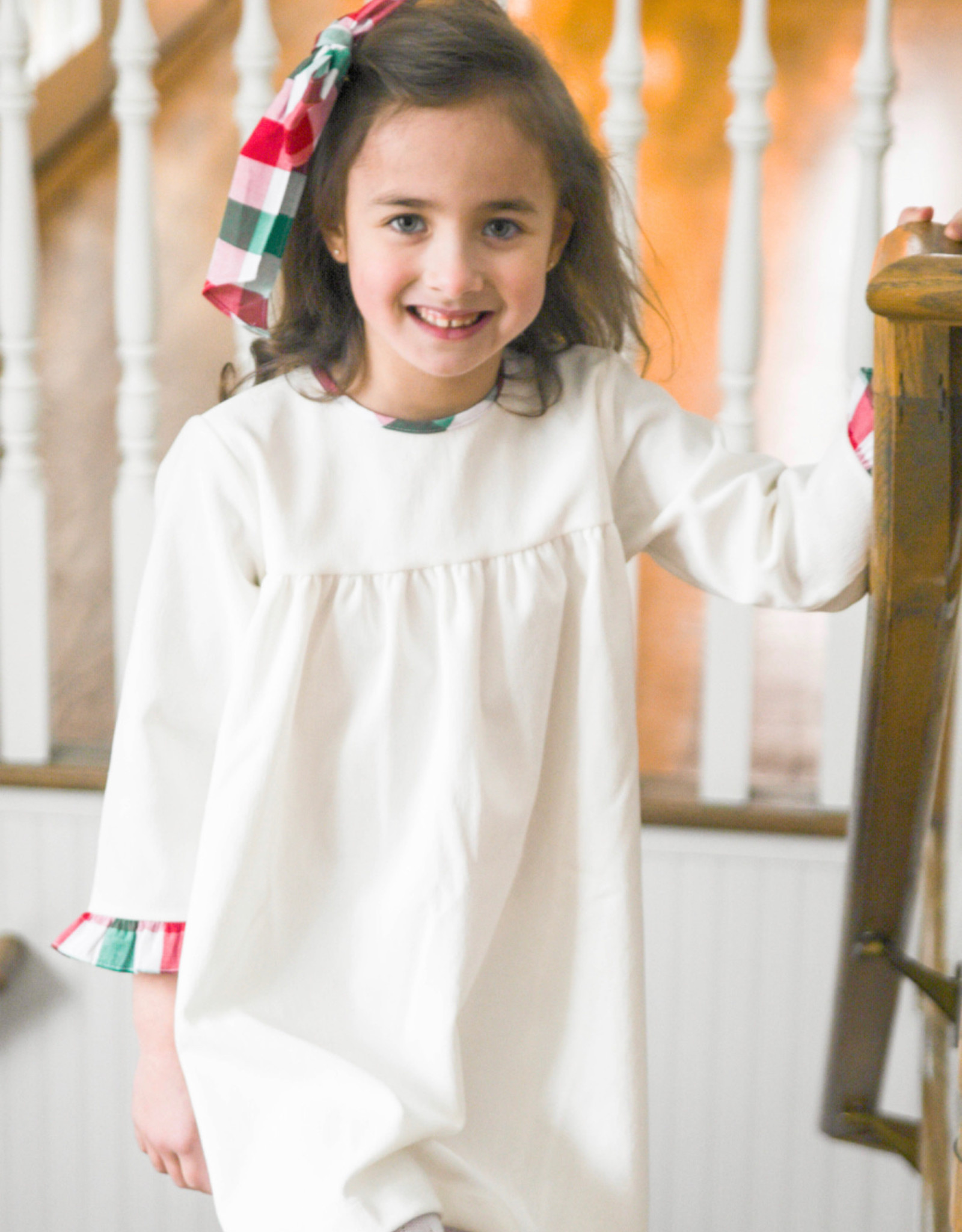 James and Lottie Greta Dress in White Cord and Christmas Plaid