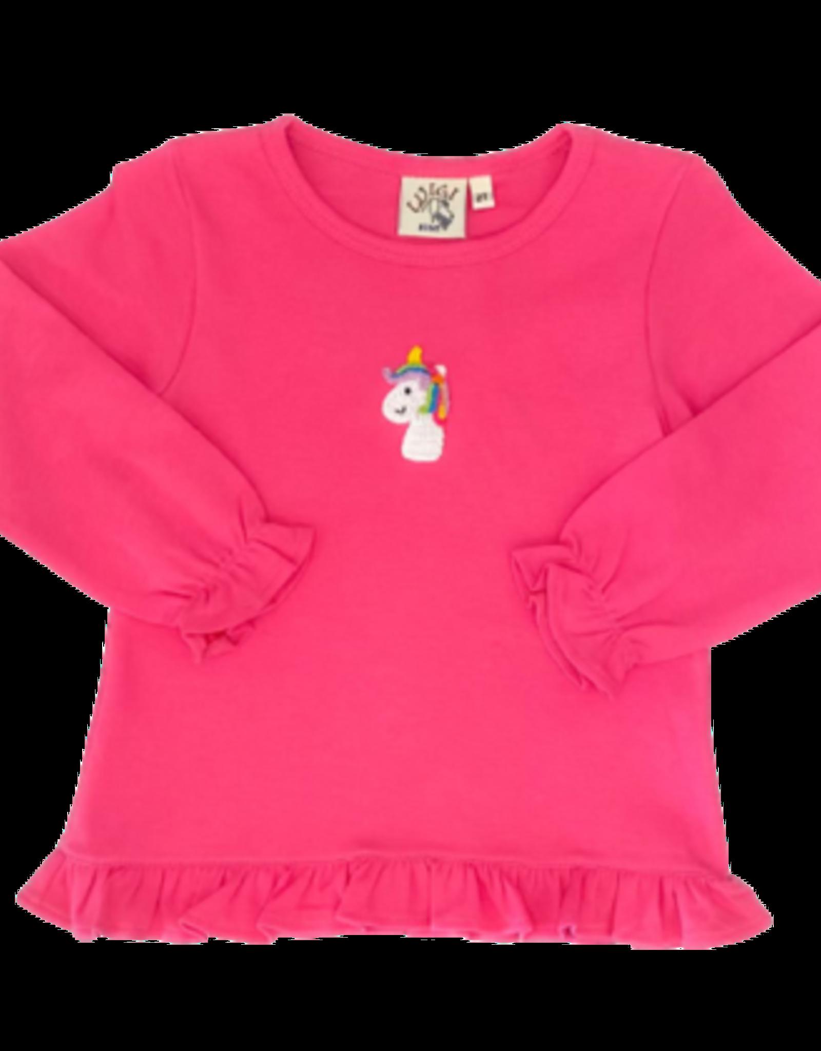 Luigi Long Sleeve Ruffle Swing Top Crochet Unicorn Hot Pink