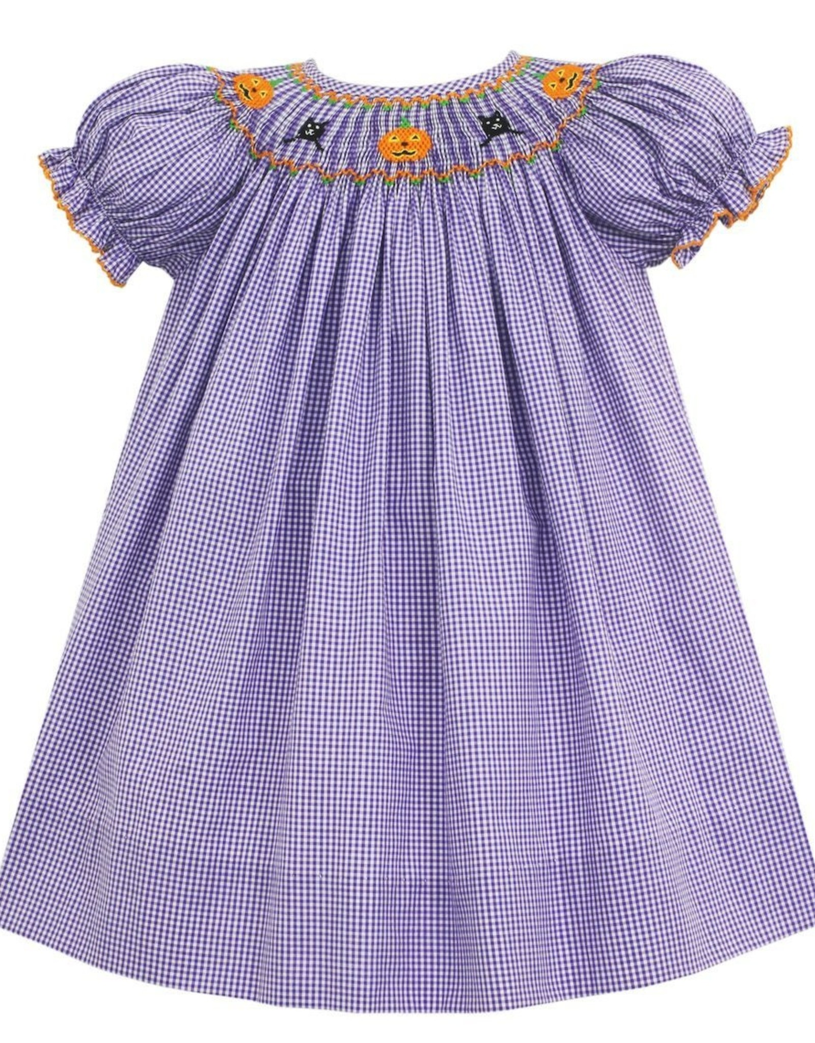 Petit Bebe Halloween Bishop Dress Purple Mini Check