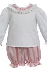 Petit Bebe Bloomer Set White With Pink Dots