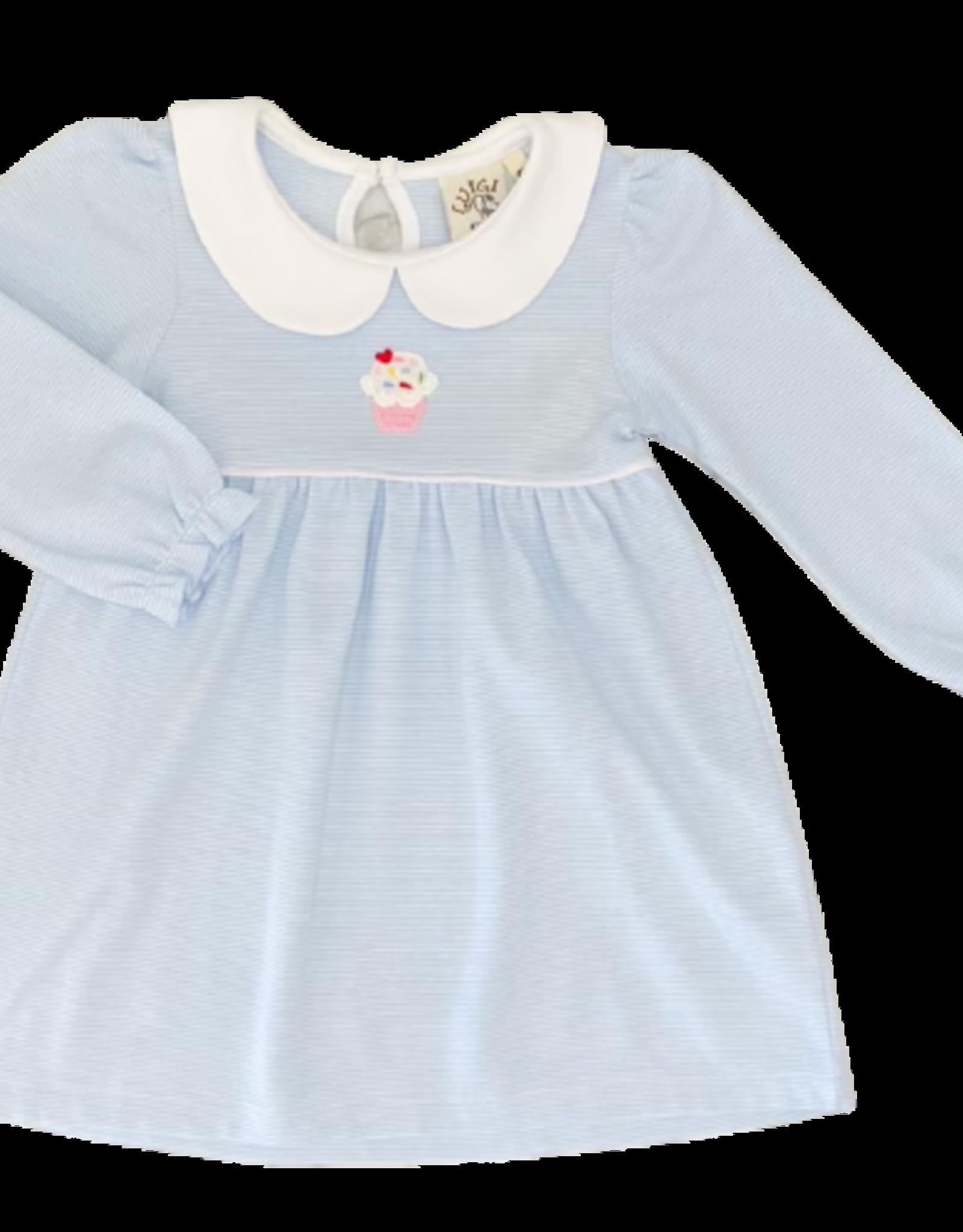 Luigi Long Sleeve Striped Dress Light Blue/White Crochet Cupcake