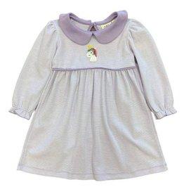 Luigi Long Sleeve Striped Dress Lavender/White Crochet Unicorn