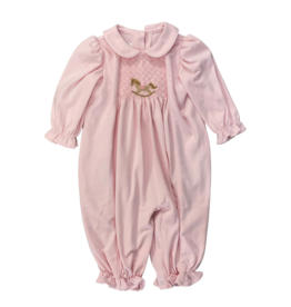 Zuccini Smocked Rocking Horse Long Bubble Girl Pink