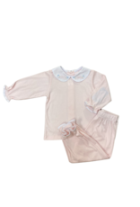Auraluz Knit Pink Two Piece Set With Tiny Bows