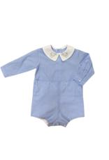 Auraluz Long Sleeve Blue Check Dinosaur Boysuit