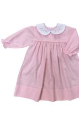 Auraluz Long Sleeve Dress Pink Check With Flower