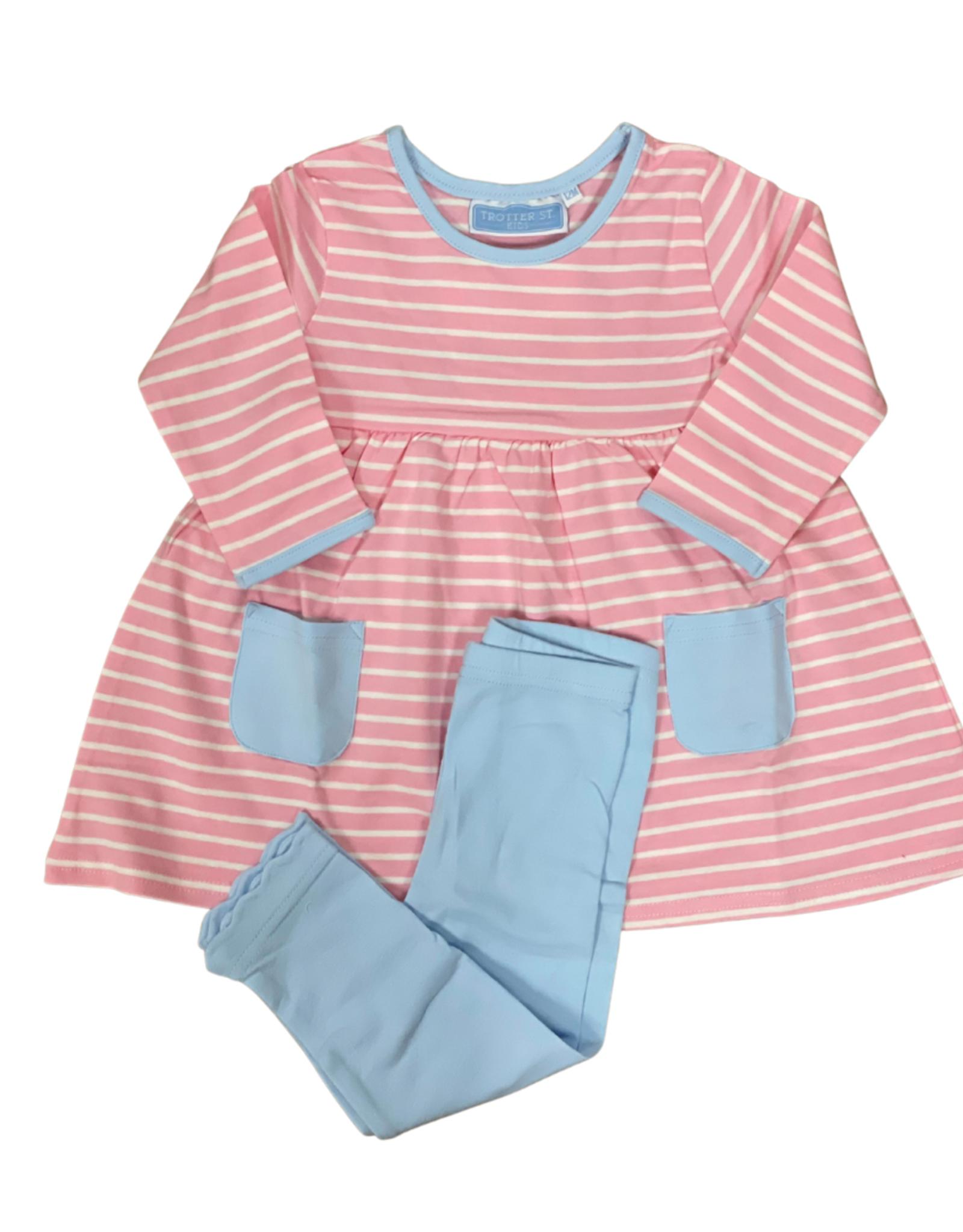 Trotter Street Kids Annie Long Sleeve Pant Set Light Pink/Blue