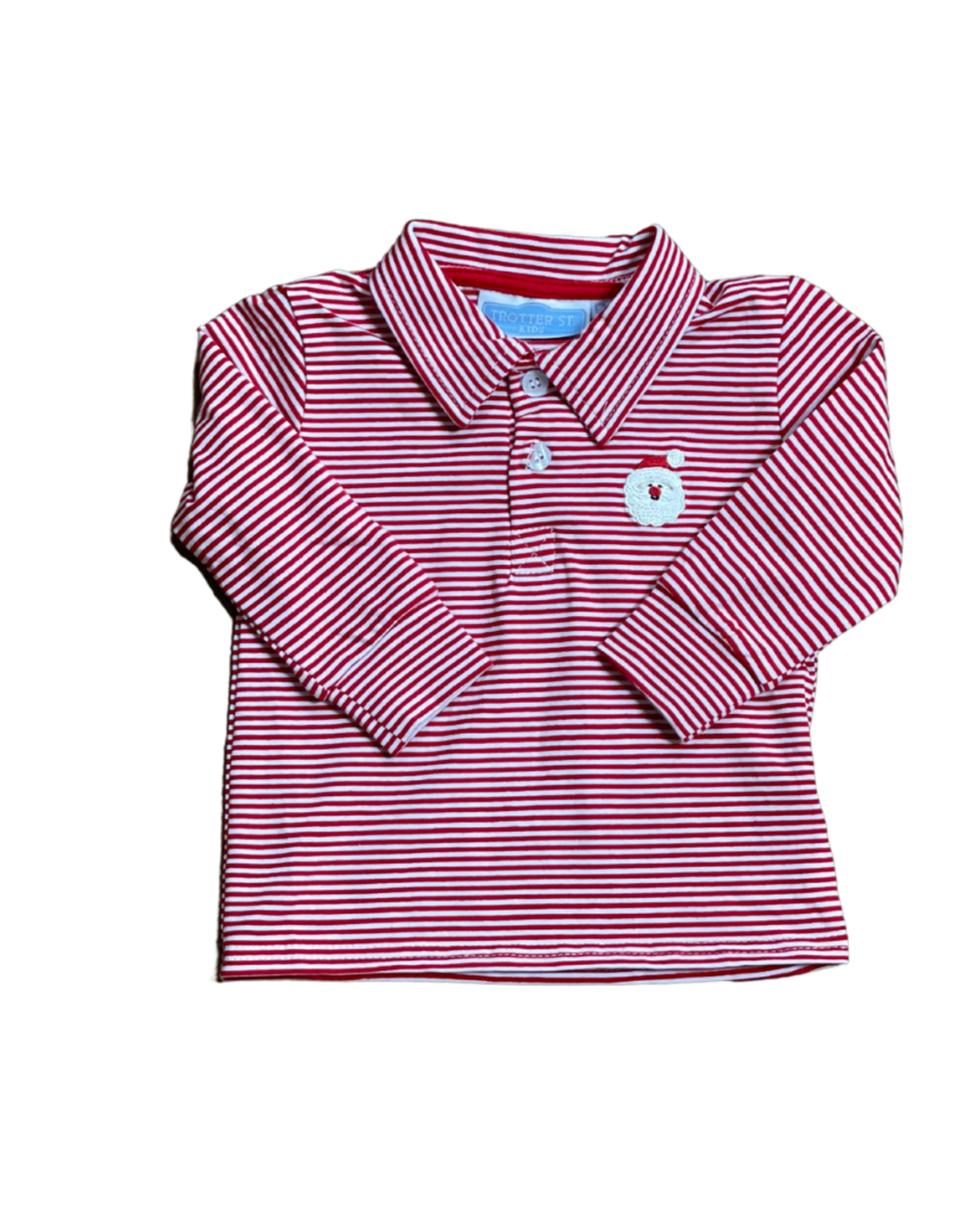 Trotter Street Kids Long Sleeve Red Polo With Santa Face