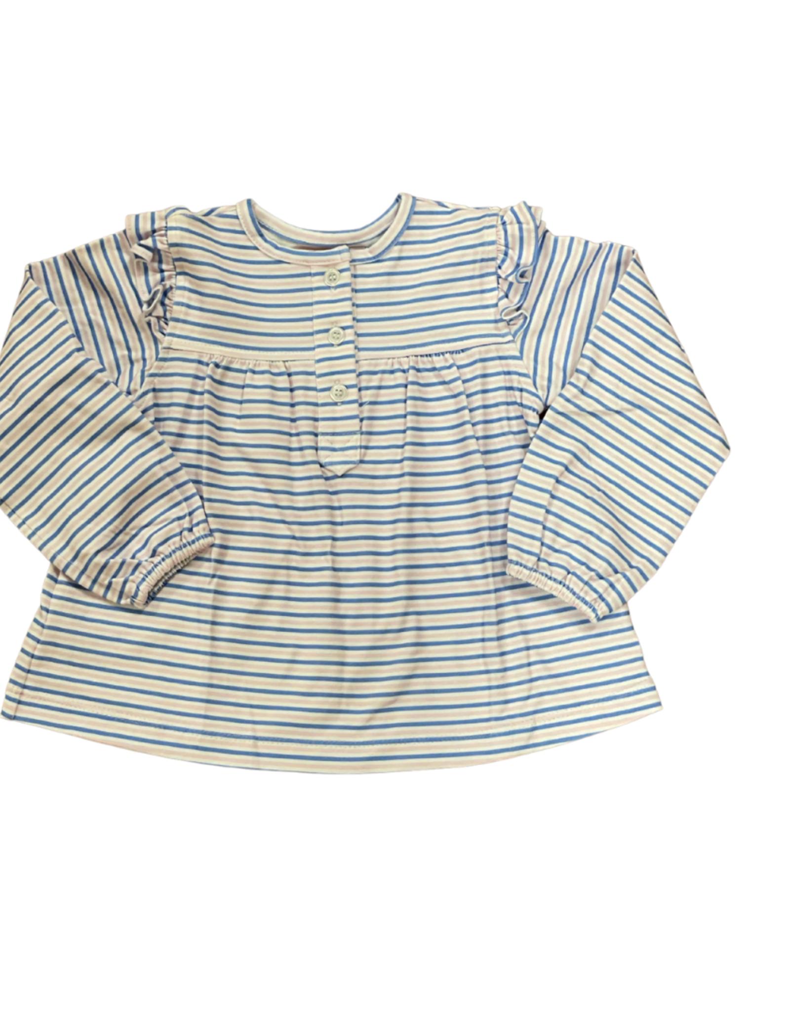 Peggy Green Long Sleeve Pima Ruffle Top Baby Pink/Royal Stripe