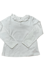 Peggy Green Long Sleeve Fitted Ruffle Pima Tee White