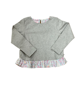 Peggy Green Nora Sweater Grey Knit With Floral Checkering