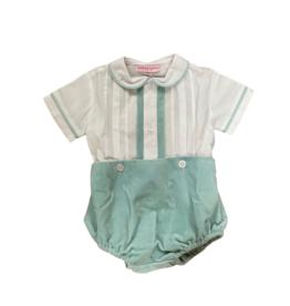 Peggy Green Boy Button Bloomer Set Peadbody Velvet