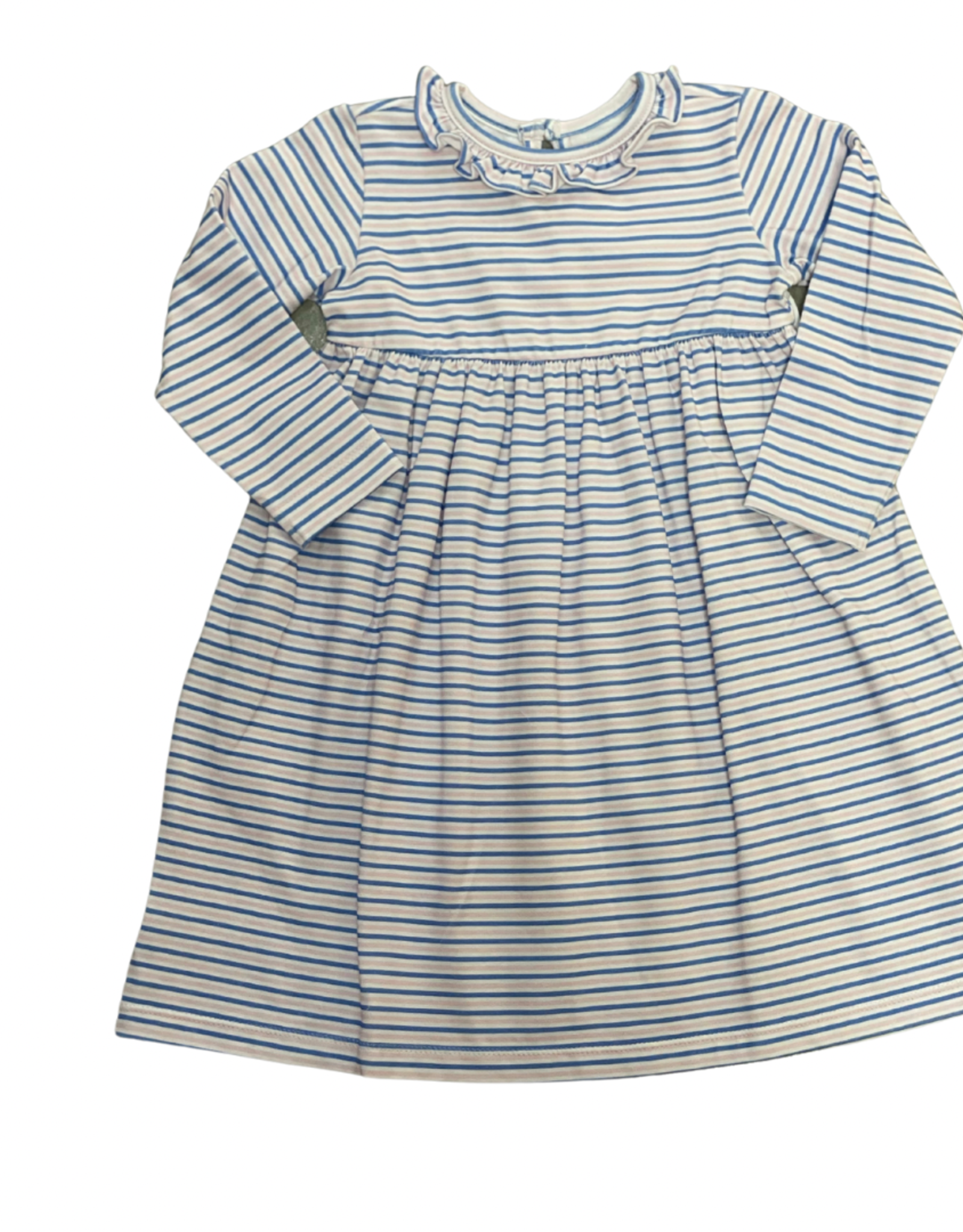 Peggy Green Long Sleeve CiCi Dress Baby Pink/Royal Stripe With Ruffle Neck