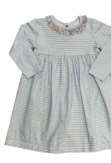 Peggy Green Long Sleeve CiCi Dress Blue/Grey Stripe With Floral Checkering