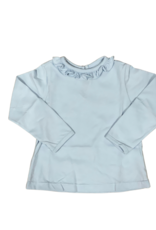 Peggy Green Long Sleeve Fitted Pima Ruffle Tee Baby Blue