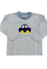 Luigi Long Sleeve Stripe Tee Sky Blue/White Car