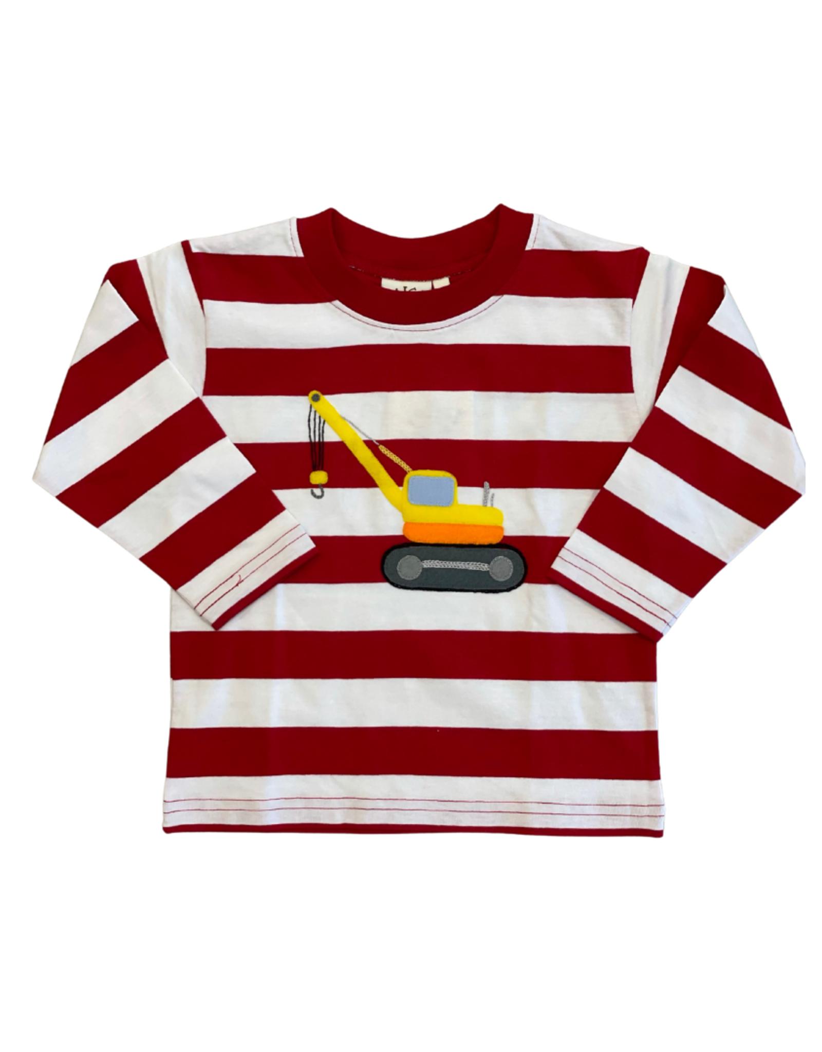 Luigi Long Sleeve Red/White Stripe Crane Tee