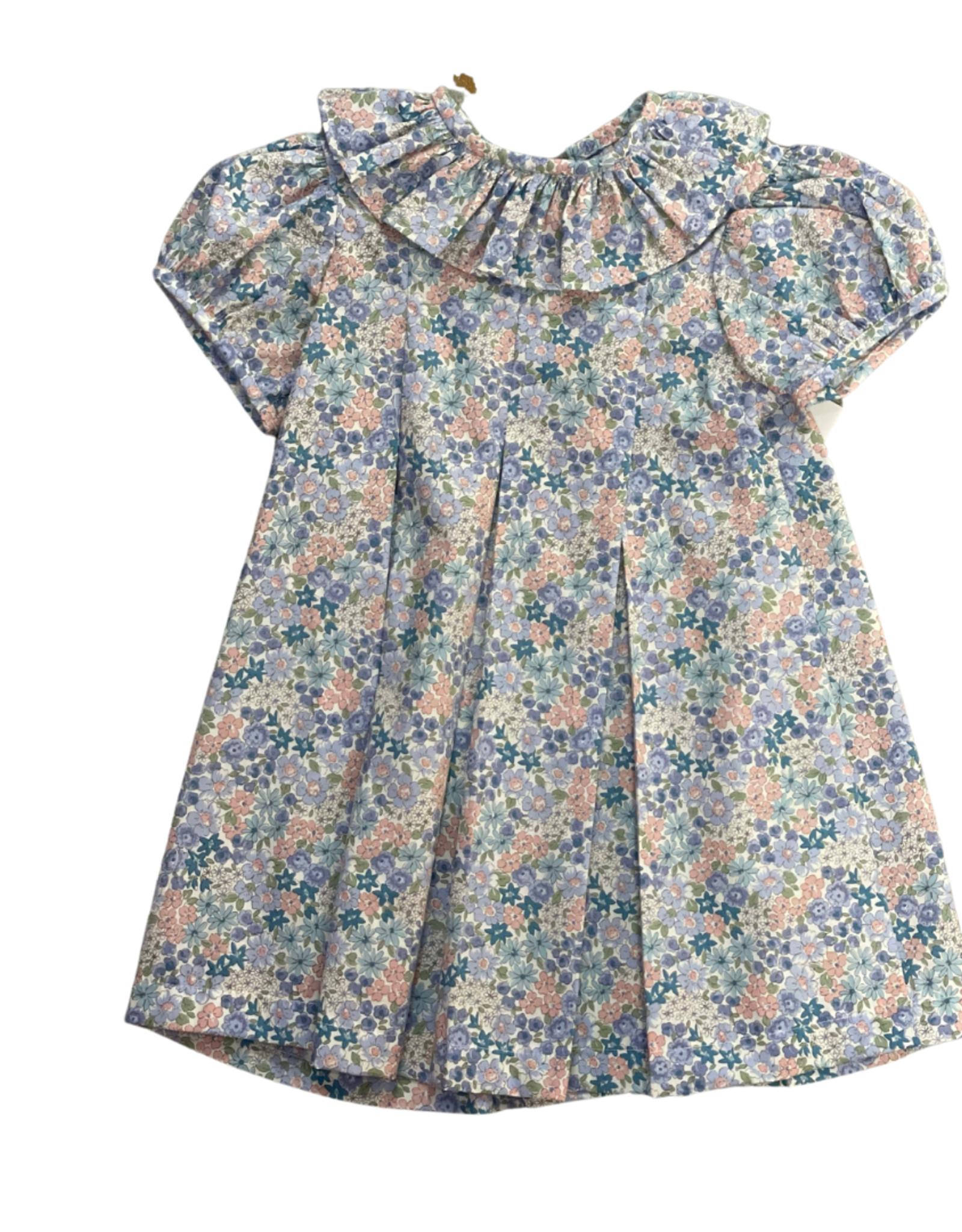 Anvy Kids Cindy Dress, Blue/Pink Floral