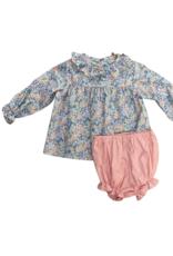 Anvy Kids Kathryn Bloomer Set, Blue/Pink Floral