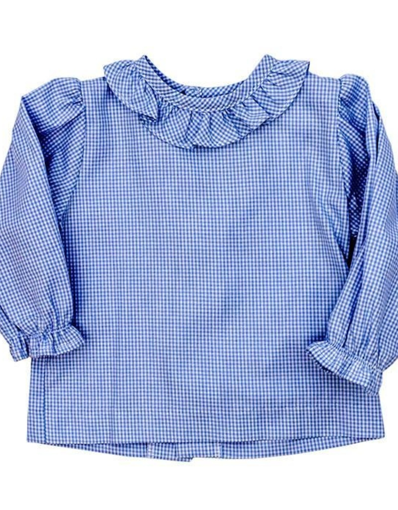 The Bailey Boys Light Blue Check Piped Girls Shirt w/ Ruffle
