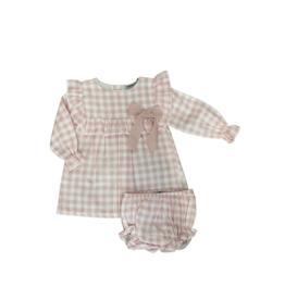 Babidu Pink Gingham Dress And Diaper Cover 40354